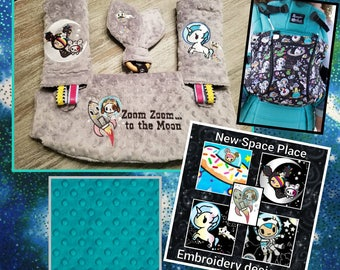 Lillebaby 3-PC set.  Headrest bib/Straight pads. Curved Pads upgrade available.  New Tokidoki Space Place Character embroidery.
