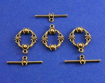 """5 sets -Fancy Antique Gold Toggle Clasp, Toggle Clasps Oval Gold Tone, 25mm x8mm (1"""" x 3/8"""") 21mm x17mm( 7/8"""" x 5/8"""")- AG-B01016"""