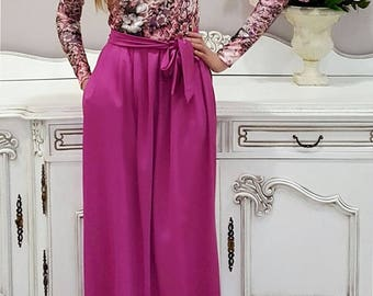 Dusky Pink Floral Maxi Dress Long Sleeves Pockets Sash