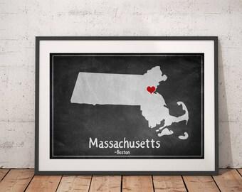 Massachusetts Print, Massachusetts State Art, Massachusetts Wall Art, Massachusetts Map Print, Chalkboard Print