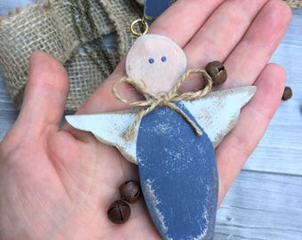 Necklace with wooden angel, painted angel, wooden guardian angel, Angel necklace, country-style angel, Neck Angels, Vintage