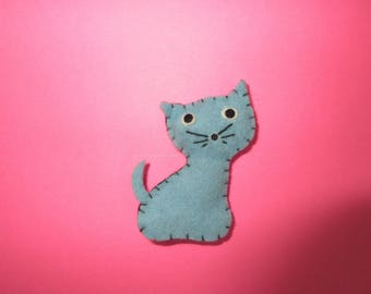 1964 Skipper *DREAMTIME FELT CAT* #1909 Cute Stuffed Blue Kitty Cat -Vintage Barbie