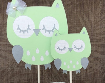 Mint And Grey Baby Shower Owl Cake Toppers/Gender Neutral Owl Cake Topper/a