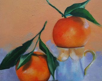 Original small oil painting of mandarin oranges. fruit painting
