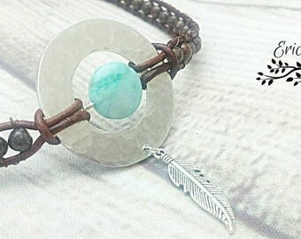 Leather choker necklace, washer choker, jasper gemstone choker, Boho choker, Boho jewelry, feather charm, Boho western, leather jewelry