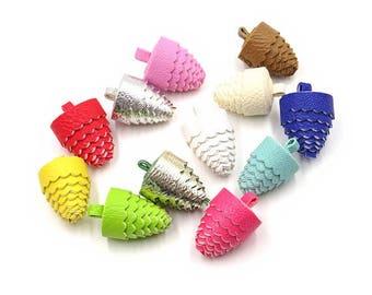 Decorative Tassels - 6 Pine Cone Tassels, No Caps - Mixed Color Assortment - Tassels for Jewelry, Purse Tassel, Key Chain Tassel - TC-P001