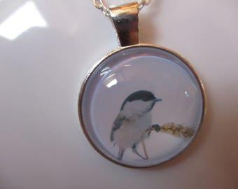 Wild winter bird sat on wheat  pendant necklace