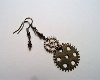 Asymmetric cogs with brown Swarovski crystals steampunk earrings