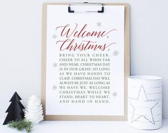 Christmas printable decor, Welcome Christmas, Christmas Sign, Grinch Sign, Christmas decor