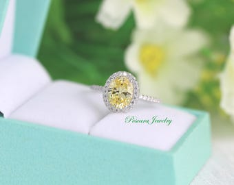 Light Canary Yellow Classical Oval Halo Engagement Ring, Oval Cut Ring - Oval Halo Ring - Canary Promise Ring - 2.0 Carat - Sterling Silver