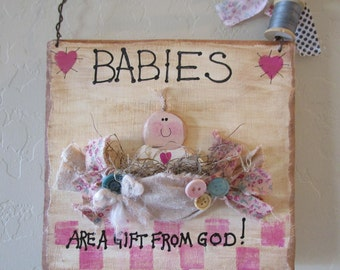 Babies are a gift wallhanging