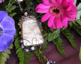 Necklace Wire wrapped rose quartz, labradorite, fluorite ~ sweet emergence fairy ~
