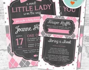 Little Lady Baby Shower Invitation, Little Lady Invitation, Pink, Gray, Polka Dots, Argyle, Chalkboard | DIY
