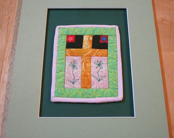 """Cross Between Earth And Sky Mini-Quilt--5"""" x 4""""--Matted--Home Decor--Includes shipping"""