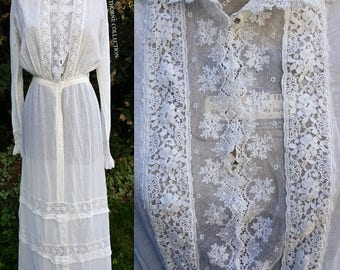Vintage Antique Victorian Edwardian Tea Dress Embroidered Irish Lace Crochet 1900s 1910s