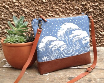 Hokusai Shoulder Bag,Nautical Purse,Denim Clutch,Summer Fashion,For Her,Casual Cross Body Bag,Birthday Gift,Leather Bottom Bag,Travel Bag