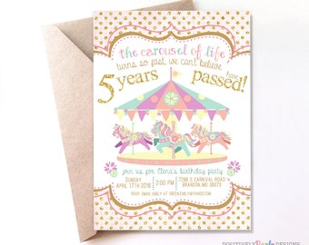 Carousel Birthday Invitation, Pastel Invites, Carnival Invites, Girls Birthday Invites, Baby Shower Invites