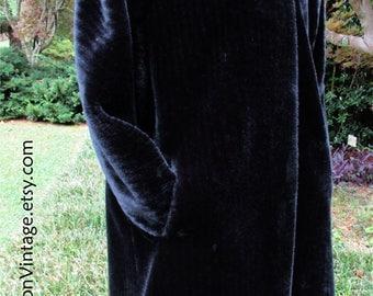 VINTAGE Faux Fur COAT, Black Faux Fur Jacket, 3/4 length, knee-length, Mid-Century retro glamorous, soft & warm! Mad Men, Women's Coat, Med
