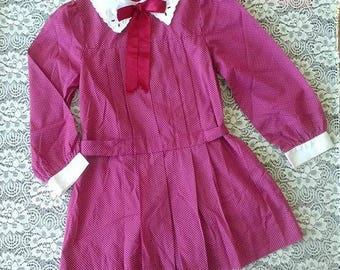 Girls Dress - Maroon with White Polka Dots - Pleated - Drop Waist - Eyelet Lace Peter Pan Collar - Union Made - Made in USA - Size 6X