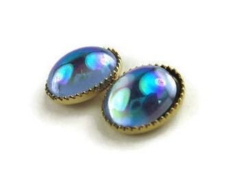 Vintage Tiny Iridescent Cabochon Stud Earrings