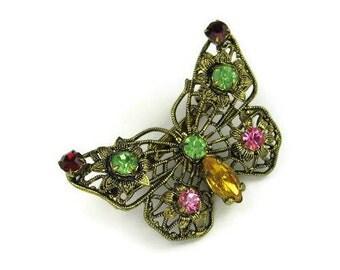 Antiqued Filigree Rhinestone Butterfly Brooch