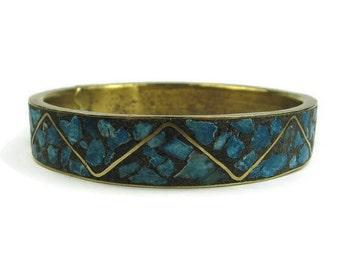 Stone Inlay Bangle Bracelet