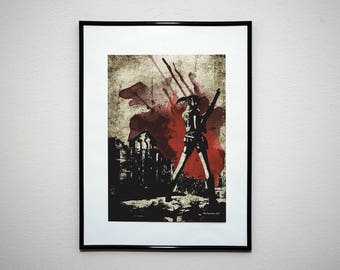 The Survivor of G - Video Game Grunge Wall Art Print Poster.