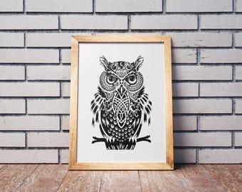 Owl Print, Black and White Print,Owl Wall Art,Minimalist Contemporary Art,Wise Bird Print,Wisdom,Bedroom Decor, Printable Art