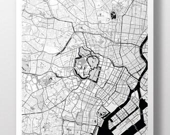 Tokyo Map Poster - B&W