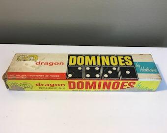 Dragon Domino set by Halsam vintage hardwood dominoes game set black dark brown white sixties 1960s 60s