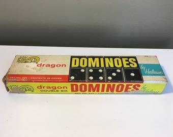 60s Dragon Domino set by Halsam Vintage hardwood dominoes game set black dark brown white sixties 1960s Game