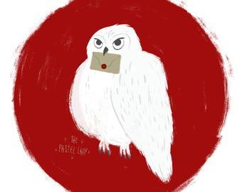 Hedwig, Harry Potter, art print, 5x5