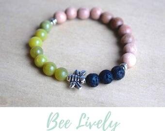 Boho Green Bracelet / save the bees, lava jewelry gift, nature lovers gifts, silver bee bracelet, abundance bracelet, honey bee jewellery