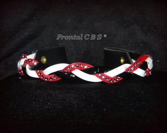 """Horse browband is custom handmade with Swarovski and leather model """"Dunes"""""""