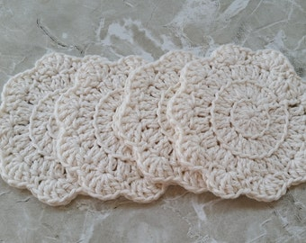 cotton crochet coasters, scalloped coasters, beige barware,cotton coasters, crochet coaster, beige crochet coaster, cotton crochet trivet