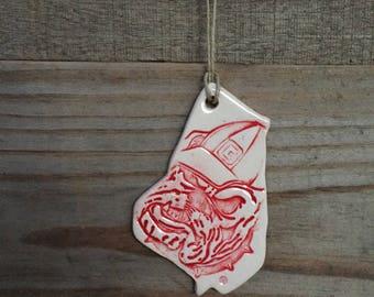 Red University of Georgia Ornament / Dawgs Ornament / Georgia Ornament / UGA Ornament / Christmas Ornament / Rebecca Martin Pottery