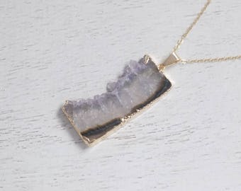 Amethyst Necklace, Amethyst Pendant, Amethyst Slice, Gold Amethyst, Crystal Neсklace, Amethyst Raw, Purple Crystal, Amethyst Jewelry, 7-97