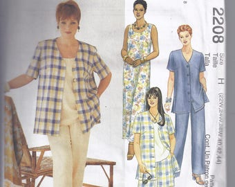 McCall's 2208 Sewing pattern from 1999  Misses Shirt,Dress or Top, Pull-on Pants or Shorts  Plus Size Bust 44-48