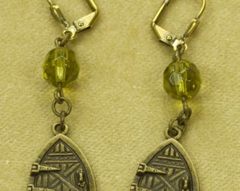 Fairy Door Earrings With Yellow Green Pressed Glass