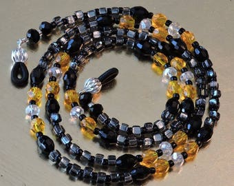 """Dark Gray, Black, Yellow and Clear Glass crystals - Beaded chains for Eyeglasses/ID badge/ Leashes 28"""" long"""