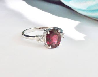Vintage Sterling Silver 925 Gemstone TRILOGY Ring Three Stone Garnet  CZ  Cubic Zirconia Designer Signed GSK Size 8