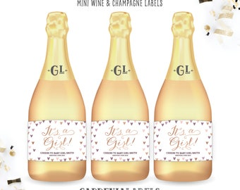 It's A Girl Miniature Baby Shower Labels, Mini Champagne Baby Shower Party Favor, Baby Girl Shower Invitation, Gender Reveal Announcement