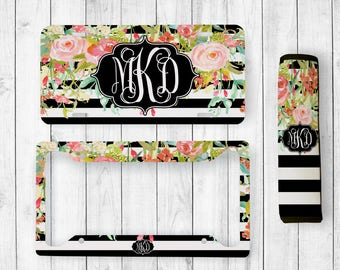 monogram license plate monogram license plate frame monogram car tag floral car tag - Monogram License Plate Frame