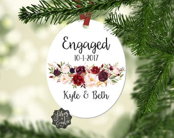 Engaged Ornament, Christmas Ornament, Personalized Engagement Gift, Floral Ornament, Our First Christmas, Couples Christmas Ornament, Xmas