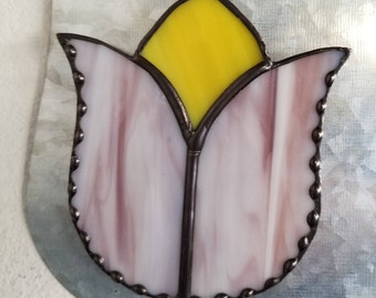 Pink and Cream Magnetic Tulip Suncatcher