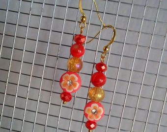 Bright Coral, Orange and Gold Drop Earrings