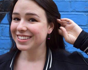 Purple Jewelry Birthday Gift Idea, Silver Wire Earring Gift For Women, Statement Jewelry Bead Earring, Neon Purple Earring Minimal Threader