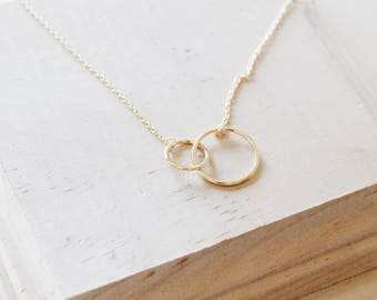 N1087 14KG Sterling Silver Circle Hoops Link Dainty Necklace