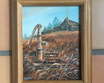 Vintage Original Oil Painting Signed Framed 8 X 10 Rustic Mountain Log Cabin Hand Water Pump Wood Tub Scene, Autumn Mountain Oil Painting