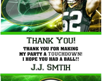Printable Football Birthday Green Bay Packers Thank you cards Notes Clay Matthews